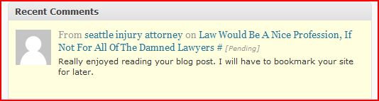 Spam comment by Seattle personal injury attorney Bradley Johnson