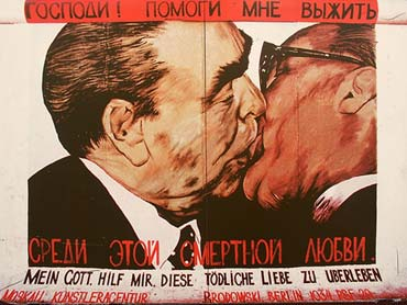 Dmitri Vrubel's BruderKuss, featuring Erich Honecker and Leonid Brezhnev