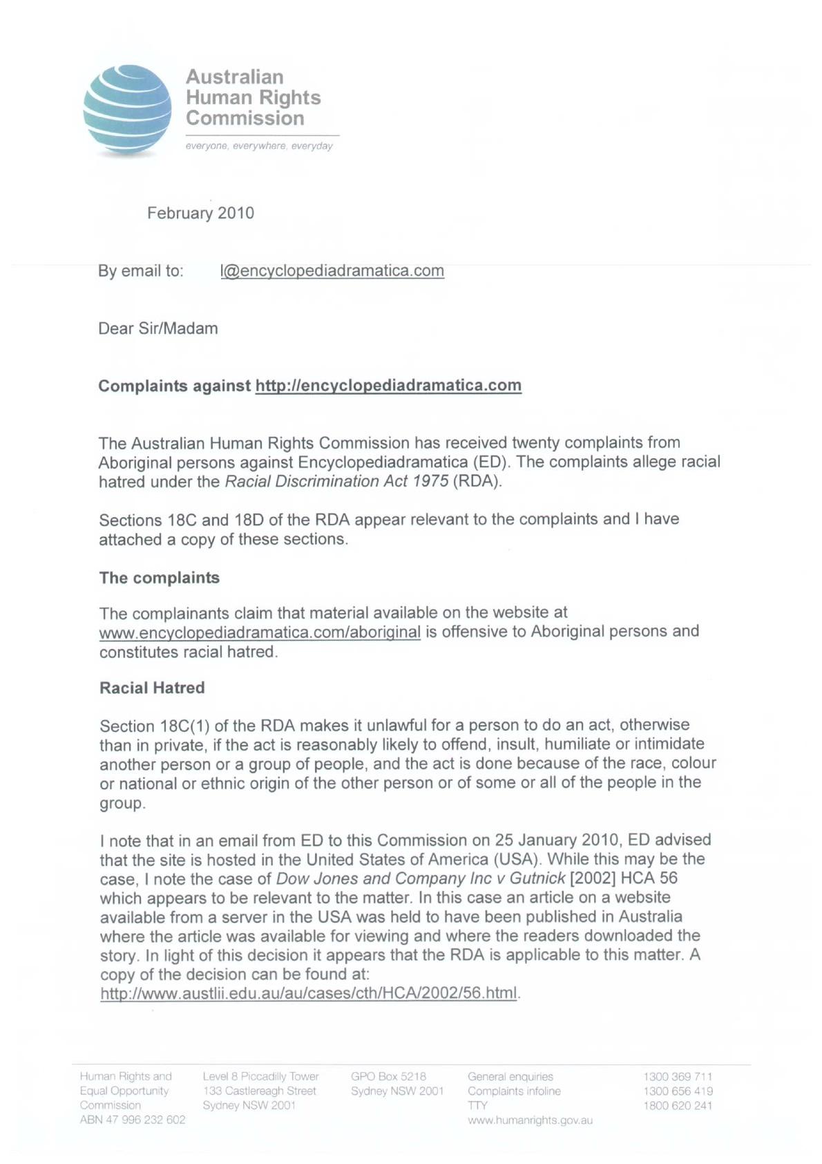 racial discrimination complaint letter sample