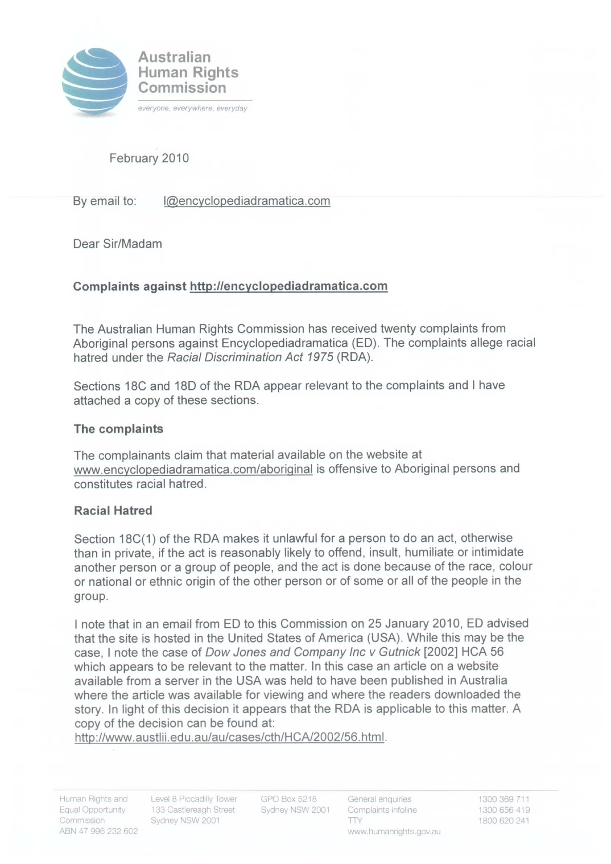 formal complaints letter